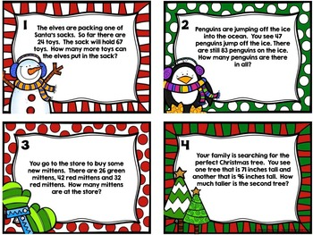 Holiday Problem Solving :: Two-digit addition & subtraction