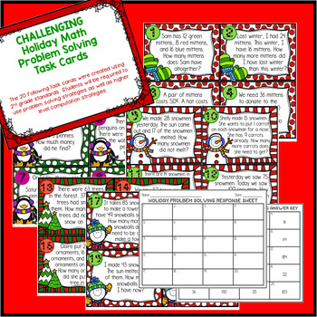 Holiday Problem Solving and Spiral Review Task Cards