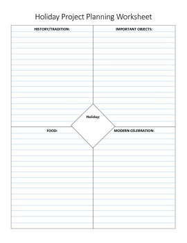 Holiday Project Using 4 Square Graphic Organizer