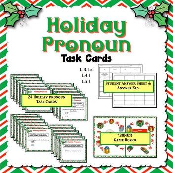 Christmas Holiday Pronoun Task Cards