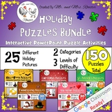 Holiday Puzzles Bundle - Google Classroom Puzzles PK-8 {Te
