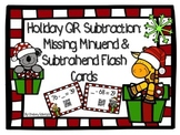 Holiday QR Subtraction: Missing Minuend & Subtrahend Flash Cards