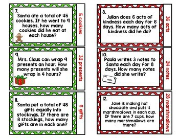 Holiday Quiz-Quiz-Trade Multiplication & Division Word Problem Cards {One-Step}