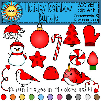 Holiday Rainbow Bundle Clip Art