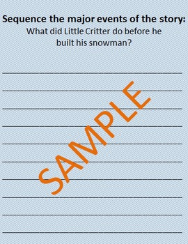 Holiday Reader Response Guide: Just A Snowman