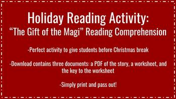 Holiday / Christmas Reading Activity: The Gift of the Magi
