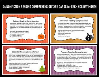 Reading Comprehension Task Cards Bundle