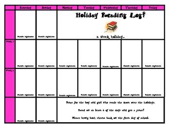 Holiday Reading Log! (1,2 or 3 week holiday)