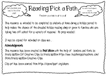 Holiday Reading Pick a Path