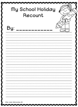 Holiday Recount Writing Templates by Miss Jacobs\' Little Learners