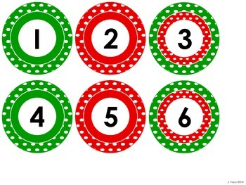 Holiday Red & Green Polka Dot Numbers 1 to 31