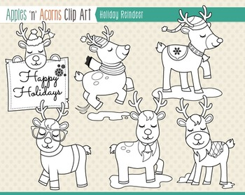 Holiday Reindeer Clip Art - color and outlines