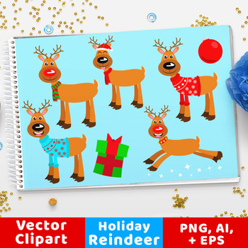 Holiday Reindeer Clipart, Rudolph Clipart, Christmas Clipart, Holiday Clipart