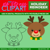 Holiday Reindeer Clipart Single