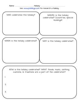 Holiday Research Graphic Organizer- Webquest