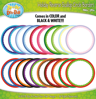 Holiday Reverse Scallop Circle Rainbow Borders — Includes