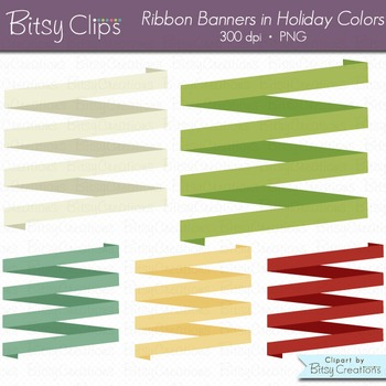 Holiday Ribbon Banners Clipart Digital Art Set Red Green Banner INSTANT DOWNLOAD