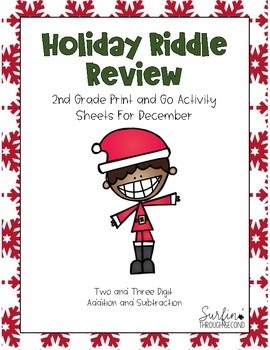 Holiday Riddle Review - 2 and 3 Digit Addition and Subtraction