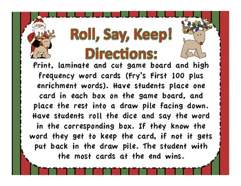 Holiday Roll, Say, Keep Fry's First 100 Word Game