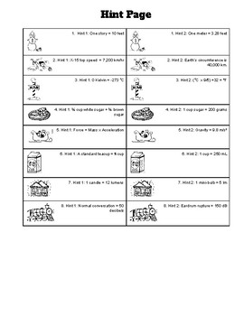 """Christmas / Winter Holiday SI (Metric) Unit """"Guesstimation"""" Game"""