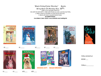 Holiday Sale!  BLACK FRIDAY BOOK FLYER for Scholastic Classroom Reading Club!