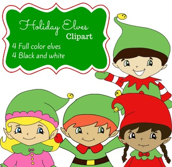 Holiday Santa's Elves Clip Art