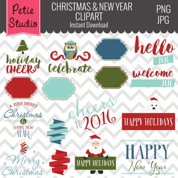 Holiday Sayings Clipart // New Year Clipart // Christmas C