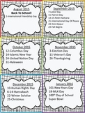 Holiday Calendar 2015-2016 FREEBIE!