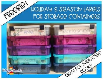 Holiday & Season Labels for Storage Bins  (FREEBIE)