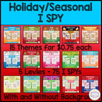 Holiday Seasonal I Spy Bundle Fun Games Activities By Zayzee S Classroom