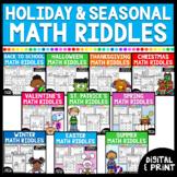 Holiday & Seasonal Math Worksheets Growing Bundle | (Add &
