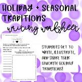 Holiday + Seasonal Traditions Worksheet