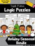 Holiday & Seasonal Triple Matrix Logic Puzzles - Challenging