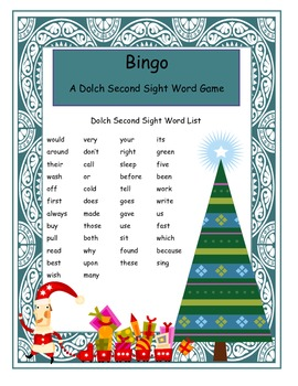 Holiday Second Grade Dolch Sight Word Bingo
