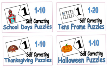Holiday Self Correcting Number Puzzles 1-10 (4pk)