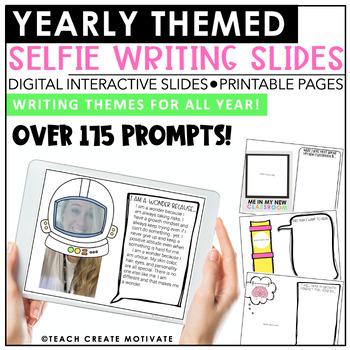 Distance Learning Digital Themed Selfie Writing   Slides   Google Classroom