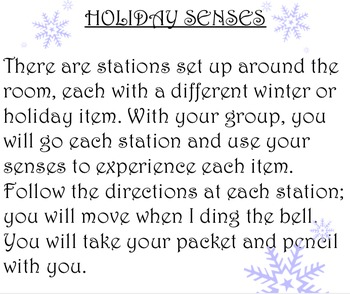 Holiday Senses Experiences (Descriptive Writing Activity)