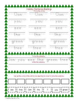 Christmas Sight Word Practice and Sentence Building