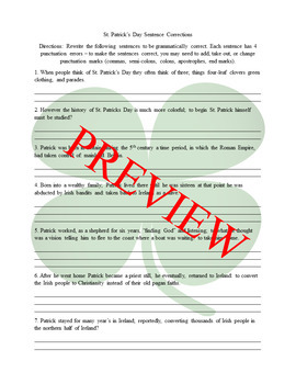 Holiday Sentence Correction Bundle #1: Punctuation Review Worksheets