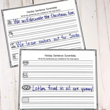 Holiday Sentence Scrambles