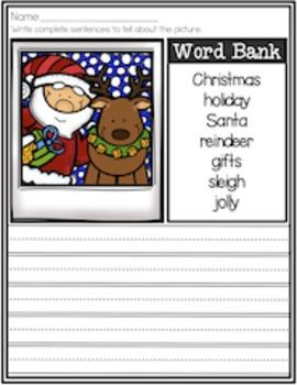 Holiday Sentence Writing Packet