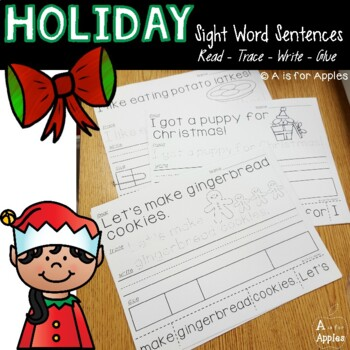 Holiday Sentences {Read-Trace-Write-Glue} by A is for Apples