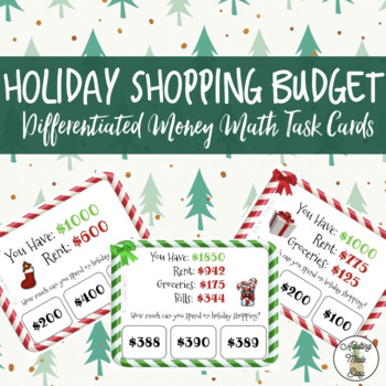 Holiday Shopping Budget Task Cards Subtraction Life Skills