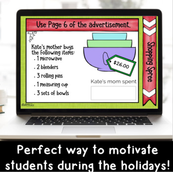 Holiday Shopping DIGITAL Multi-Step Word Problem Activity