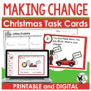 Making Change Scoot/Task Cards Set with a Holiday Shopping Theme