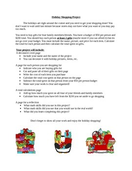 Holiday Shopping Project - Adding and Subtracting Money and Decimals