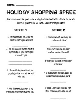 Holiday Shopping Spree - Addition with Decimals