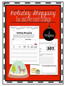 Holiday Shopping Tax and Percent Change