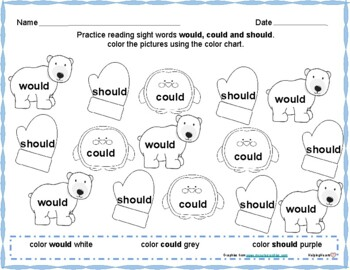 Holiday Sight Word Color