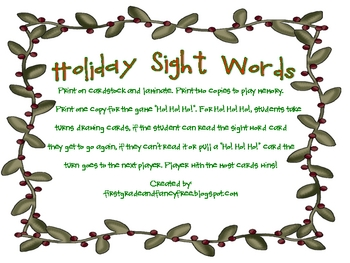 Holiday Sight Word Game